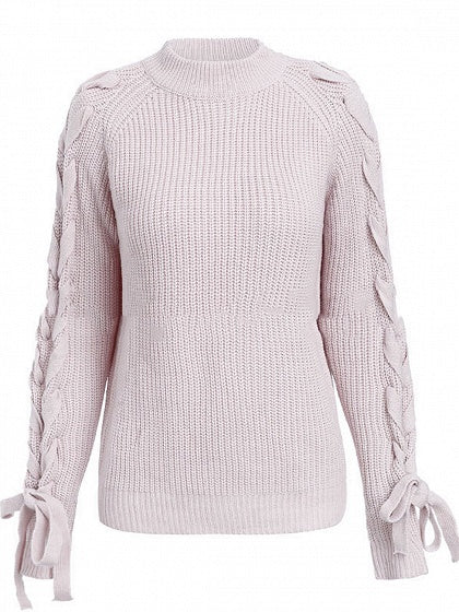 Pink Women Sweater Crew Neck Lace Up Side Long Sleeve