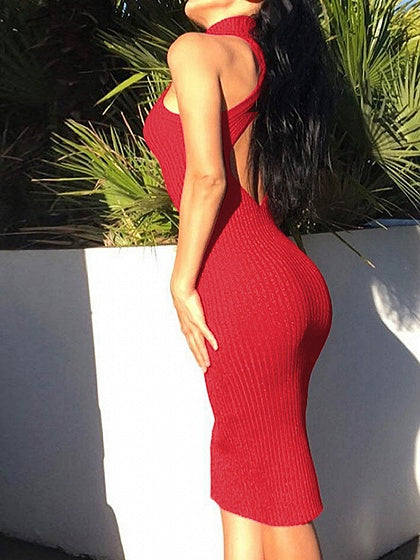 Red Women Bodycon Dress Ribbed Halter Open Back Sleeveless