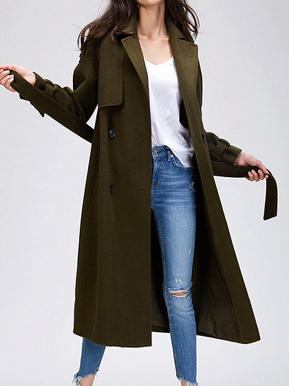 Army Green Women Longline Wool Blend Coat Lapel Long Sleeve