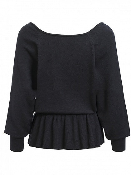 Black Women Sweater V-neck Beaded Detail Ruffle Hem Long Sleeve