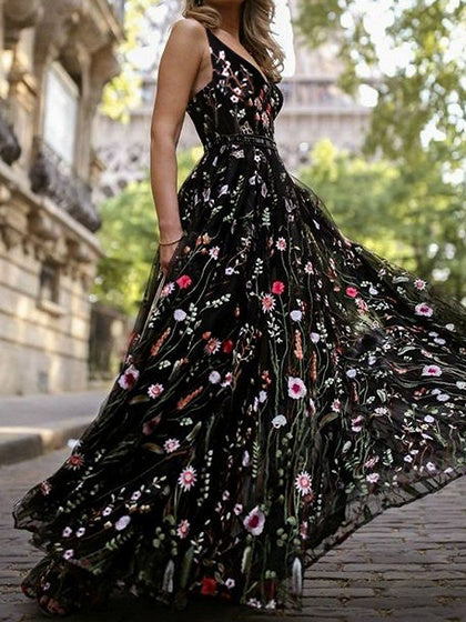 Black Women Cami Maxi Dress V-neck Floral Print Open Back