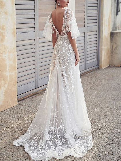 White Women Lace Maxi Dress V-neck Open Back Flare Sleeve