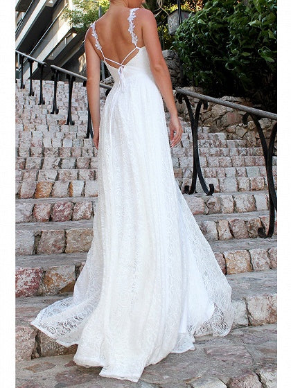 White Women Lace Cami Maxi Dress V-neck Open Back