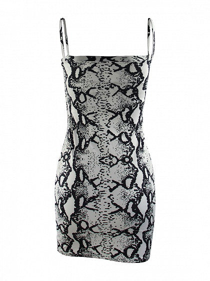 Gray Women Bodycon Cami Mini Dress Snakeskin Print