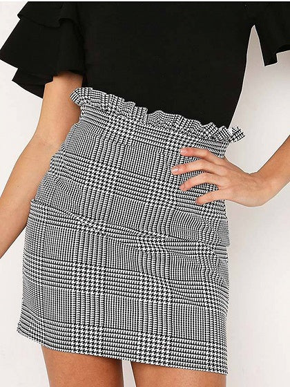 Gray Women Mini Skirt Plaid High Waist Ruffle Trim