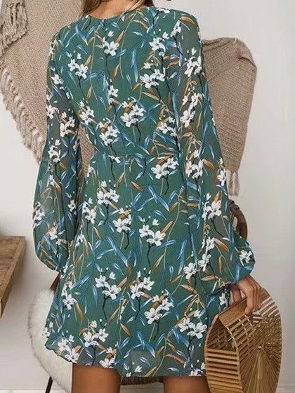 Green Women Mini Dress Plunge Floral Print Puff Sleeve