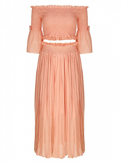 Orange Two pieces Off Shoulder Flare Sleeve High Waist