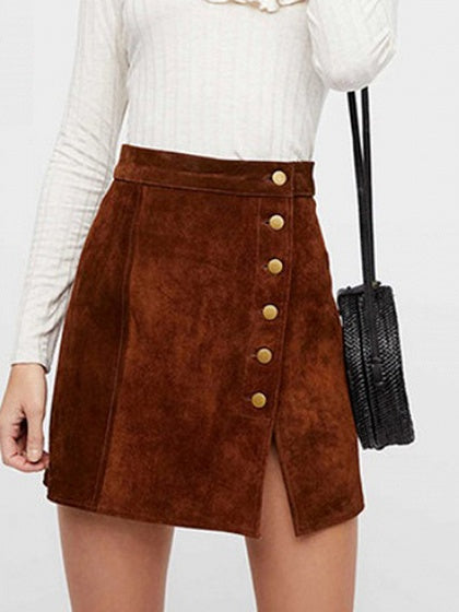 Brown Women Mini Skirt High Waist Button Placket Front