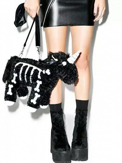 Black Women Fluffy Shoulder Bag Cotton Unicorn Shape