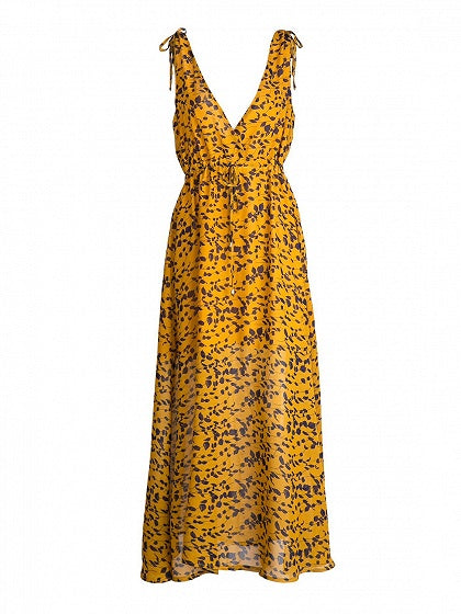 Yellow Women Maxi Dress V-neck Floral Print Sleeveless