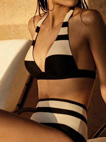 Black  Bikini Stripe Contrast Panel Halter High Waist