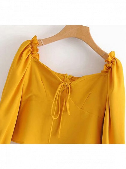 Yellow Women Crop Blouse Square Neck Frill Trim Puff Sleeve