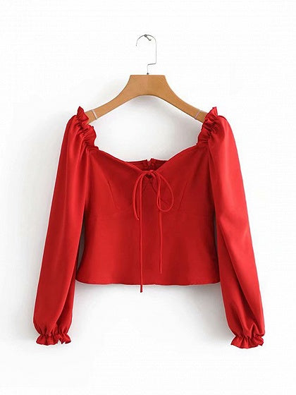 Red Women Crop Blouse Square Neck Frill Trim Puff Sleeve