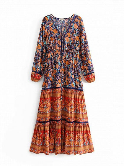 Blue Bohemian Maxi Dress Contrast V-neck Floral Print Long Sleeve