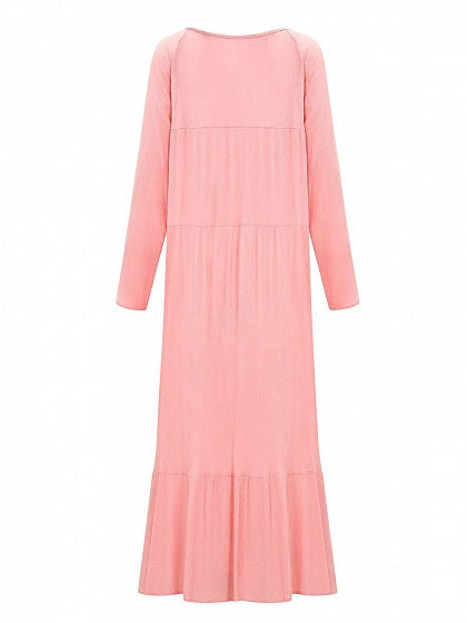 Pink Women Maxi Dress V-neck Ruffle Hem Long Sleeve