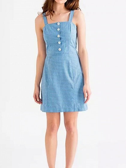 Light Blue Women Cami Mini Dress Plaid Button Placket Front