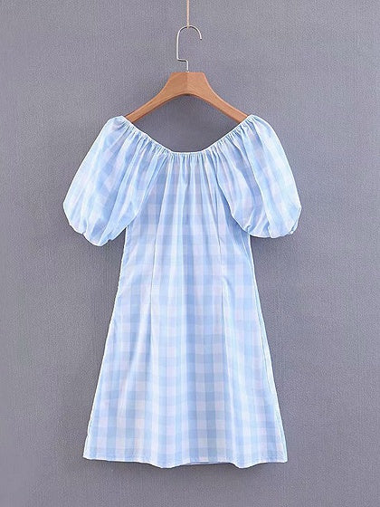 Light Blue Women Mini Dress Plaid Square Neck Puff Sleeve