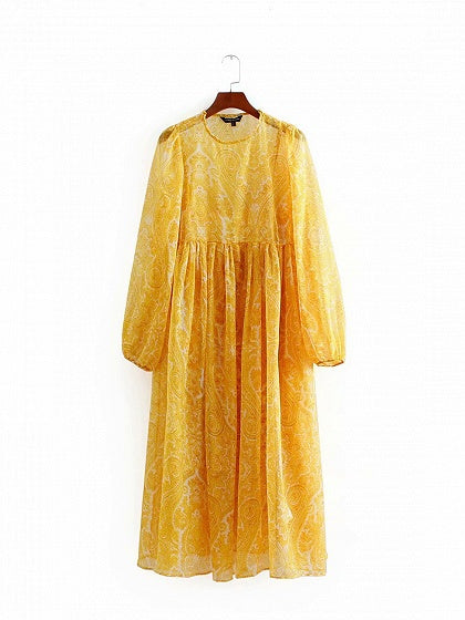 Yellow Women Midi Dress Floral Print Ruched Detail Long Sleeve