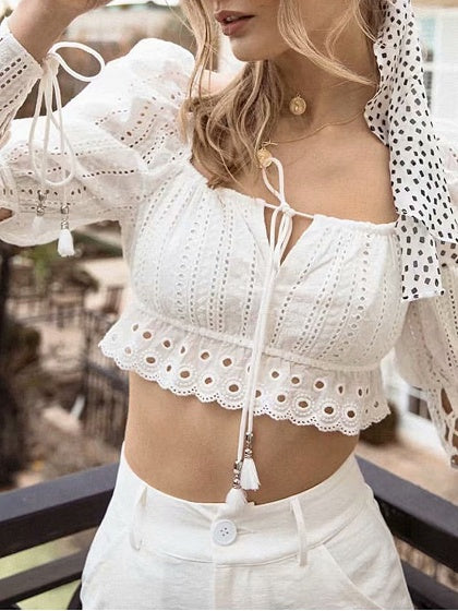 White Women Lace Crop Blouse Off Shoulder Puff Sleeve