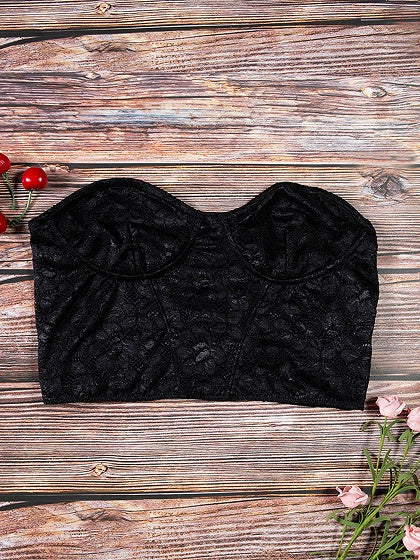 Black Bandeau Women Lace Crop Top
