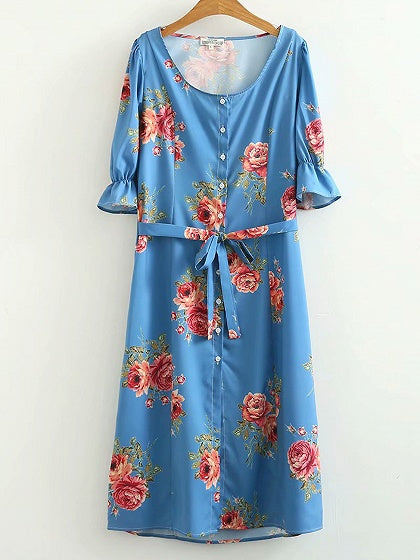 Blue Women Maxi Dress Square Neck Floral Print Ruffle Sleeve