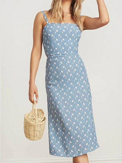 Blue Women Cami Midi Dress Chiffon Floral Print Tie Back