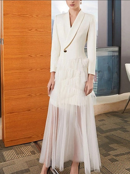 White Women Maxi Dress Lapel Sheer Mesh Panel Long Sleeve