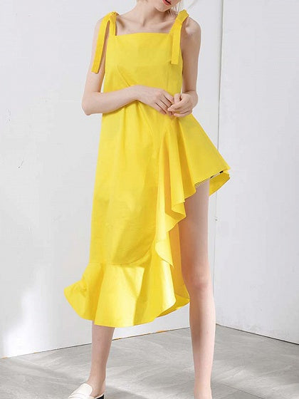 Yellow Women Cami Midi Dress Asymmetric Hem Ruffle Trim