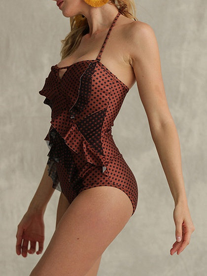 Brown Women Swimsuit Halter Polka Dot Print Ruffle Trim Open Back