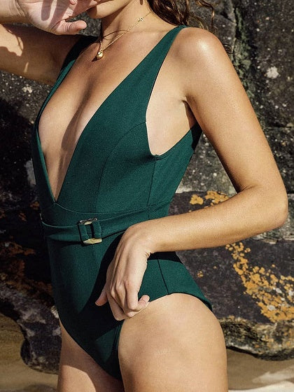 Green One-piece Swimsuit Plunge Open Back