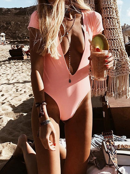Pink One-piece Swimsuit Plunge Open Back