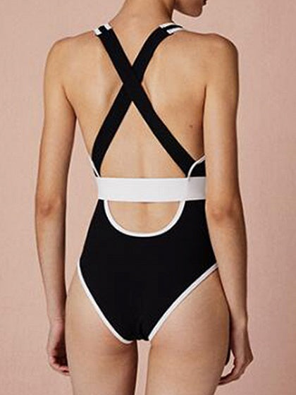 Black One-piece Swimsuit Contrast V-neck Open Back