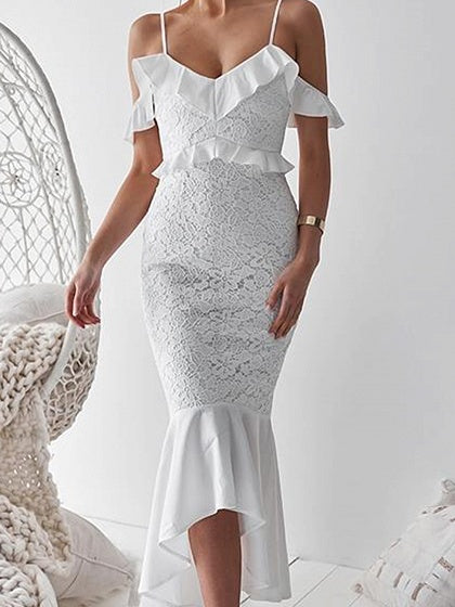 White Cami Maxi Dress V-neck Cold Shoulder Ruffle Trim Lace