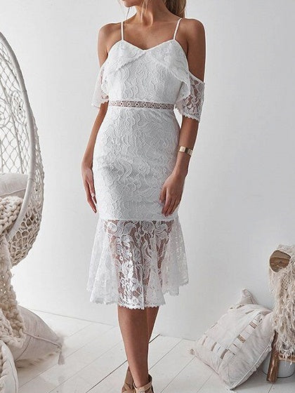 White Bodycon Dress V-neck Cold Shoulder Ruffle Trim Lace