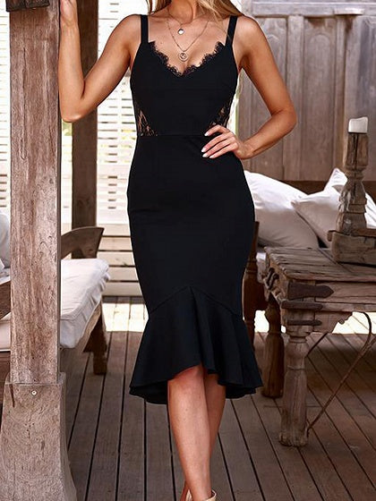 Black Women Cami Midi Dress V-neck Lace Panel Ruffle Hem
