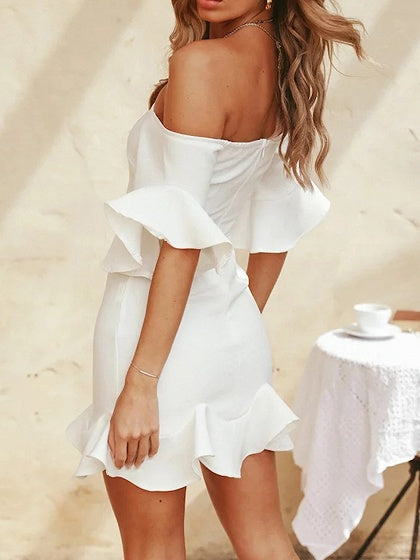 White Mini Dress Off Shoulder Ruffle Hem Flare Sleeve