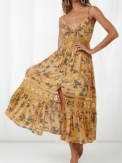 Yellow Women Cami Maxi Dress Plunge Floral Print Ruffle Hem