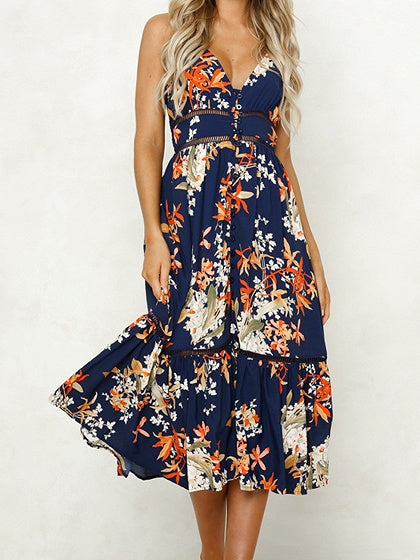 Dark Blue Women Cami Midi Dress Plunge Floral Print Ruffle Hem