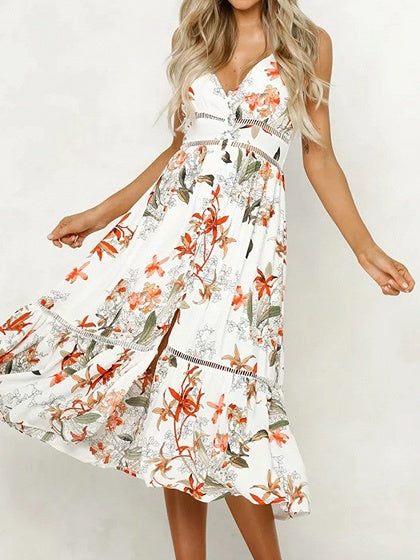 White Women Cami Midi Dress Plunge Floral Print Ruffle Hem