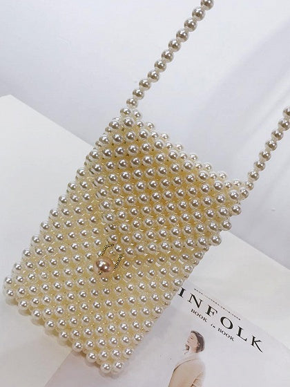 White Cross Body Bag Triangle Lid Pearl