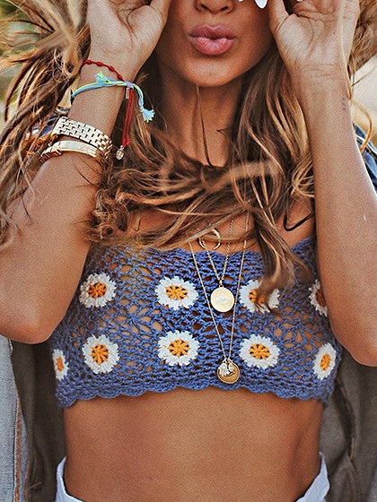 Blue Crop Cami Top Chrysanthemum Embroidery Knit