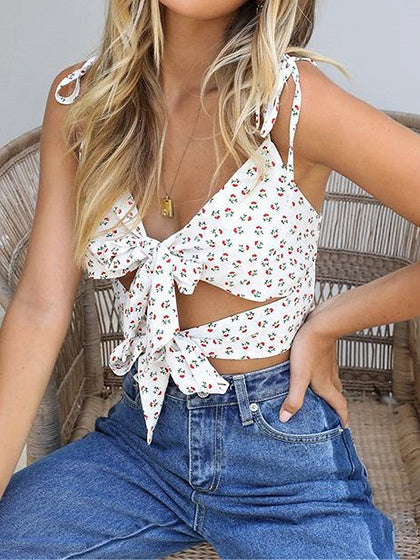 White Women Crop Cami Top V-neck Floral Print Bow Tie Front