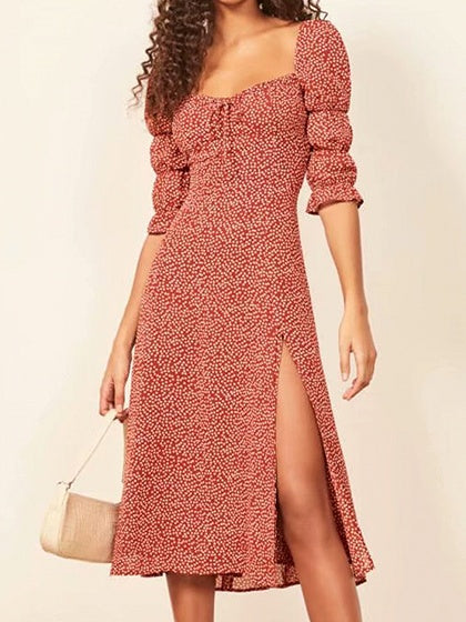 Red Midi Dress Square Neck Floral Print Thigh Split Puff Sleeve