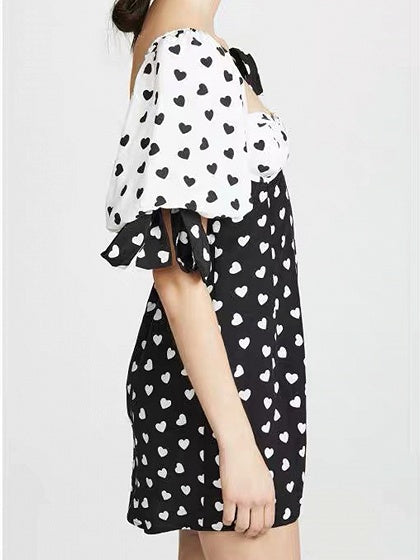 Black Mini Dress Contrast Square Neck Heart Print Puff Sleeve