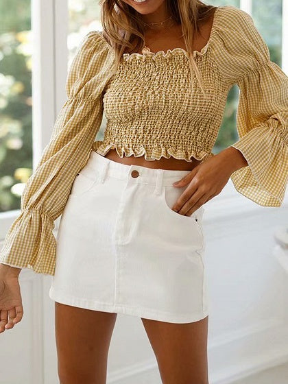 Yellow Crop Top Plaid Off Shoulder Ruched Detail Flare Sleeve