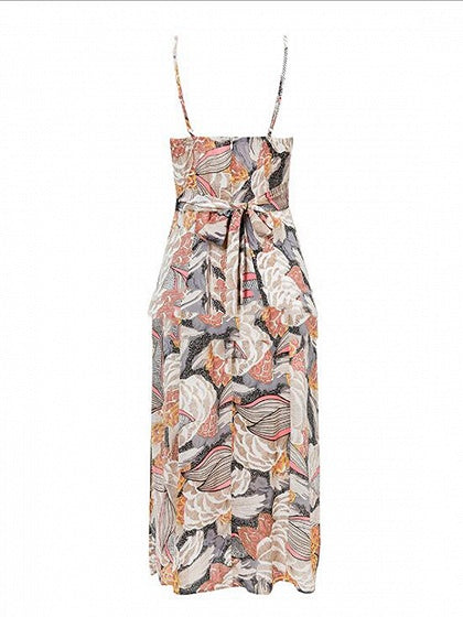 Polychrome Cami Midi Dress V-neck Floral Print Split Front