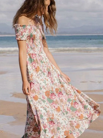 Polychrome Maxi Dress Off Shoulder Floral Print Frill Trim
