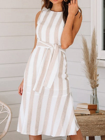 Brown Dress Stripe Tie Waist Open Back Sleeveless