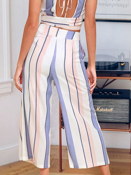 Polychrome Two pieces Stripe V-neck Crop Tank Top And High Waist Wide Leg Pants