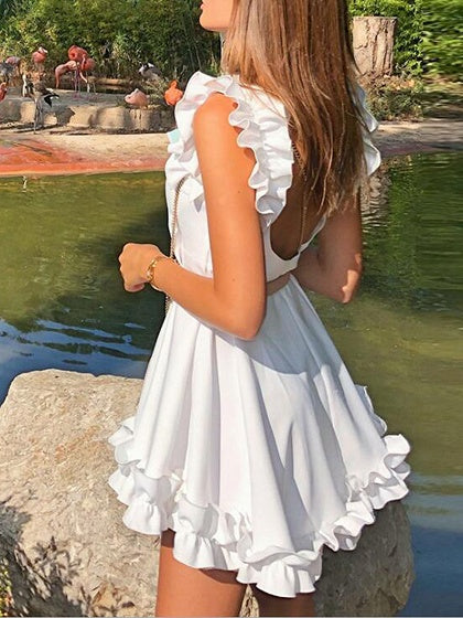White Mini Dress Ruffle Trim Open Back Sleeveless